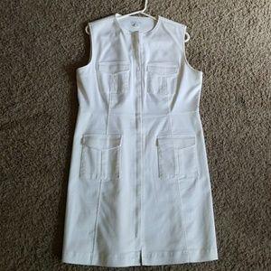 White stretch sheath dress